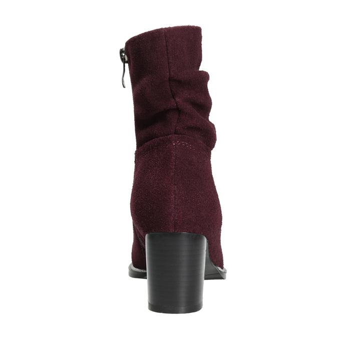Vínové kožené čižmy bata, červená, 693-5602 - 17