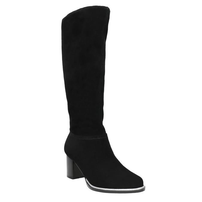 Čierne čižmy z brúsenej kože bata, čierna, 693-6603 - 13