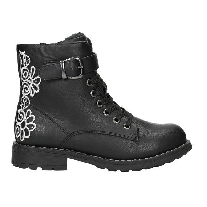 Členková detská obuv s výšivkou mini-b, čierna, 391-6654 - 15