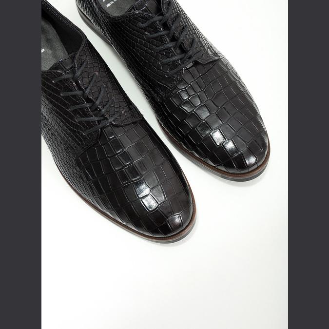 Dámske kožené poltopánky so štruktúrou bata, čierna, 526-6637 - 14