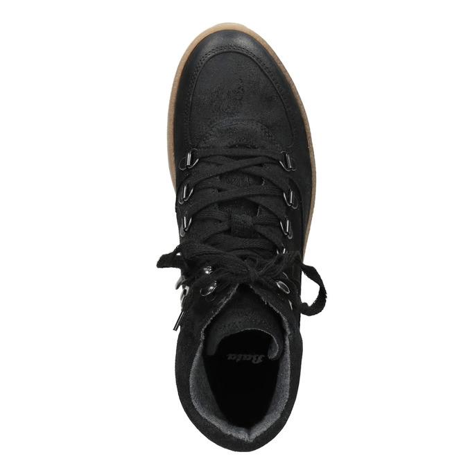Kožená členková obuv so šnurovaním bata, čierna, 596-6673 - 15