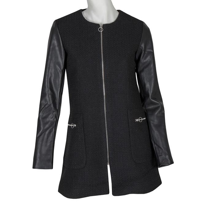 Dámsky kabát s koženkovými rukávmi bata, čierna, 979-6153 - 13