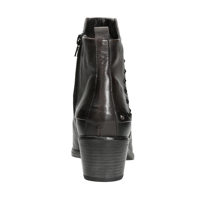 Členková kožená obuv s kovovými cvokmi bata, čierna, 696-6652 - 16