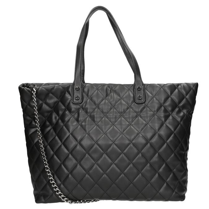 Prešívaná kabelka s retiazkou bata, čierna, 961-6139 - 16