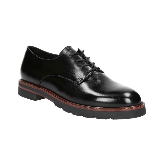 Kožené poltopánky na výraznej podrážke bata, čierna, 526-6642 - 13
