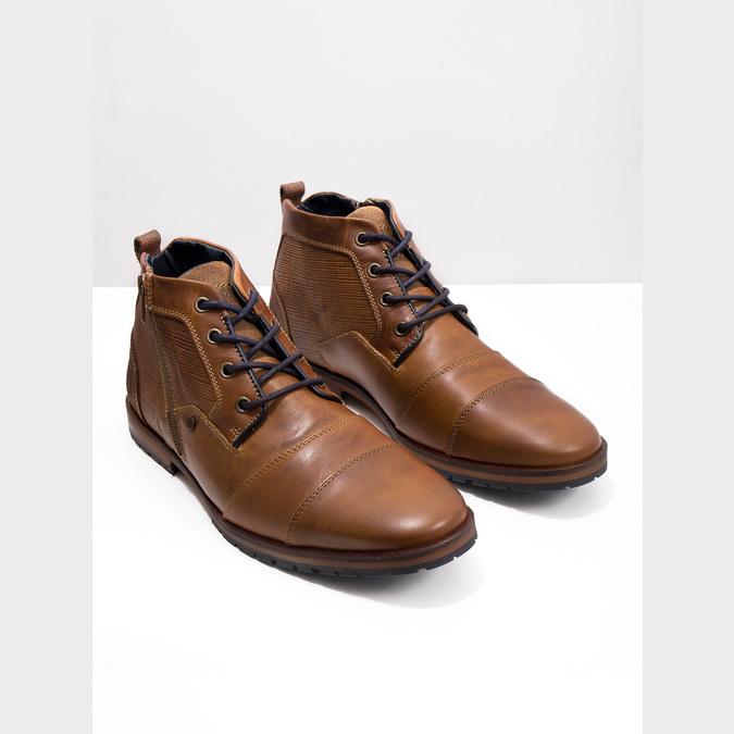 Kožená členková obuv so zipsom bata, hnedá, 826-3911 - 14