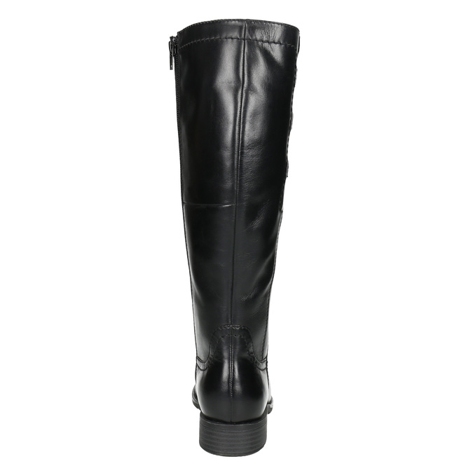 Kožené čižmy s elastickým remienkom bata, čierna, 596-6655 - 17