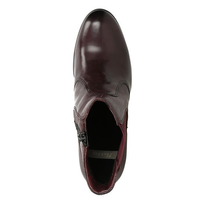 Kožené členkové topánky na podpätku bata, červená, 796-5647 - 17