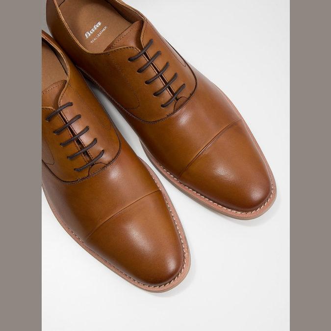 Celokožené hnedé Oxford poltopánky bata, hnedá, 826-3414 - 14