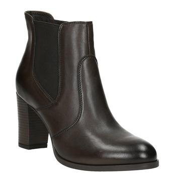 Kožené členkové topánky na podpätku bata, hnedá, 796-4647 - 13
