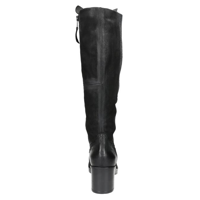 Kožené čižmy na stabilnom podpätku bata, čierna, 696-6647 - 16