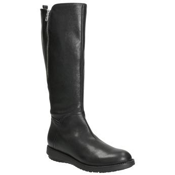 Dámske kožené čižmy so zipsom flexible, čierna, 594-6651 - 13