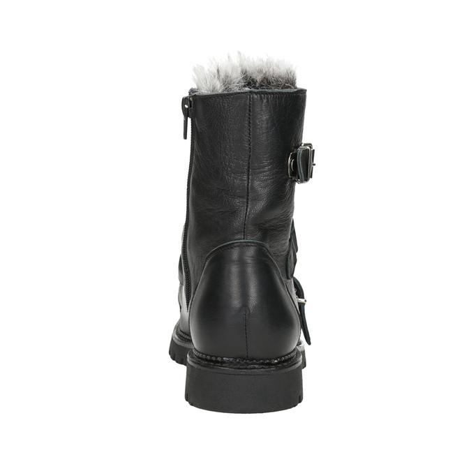 Kožená členková obuv s kožúškom bata, čierna, 594-6656 - 16