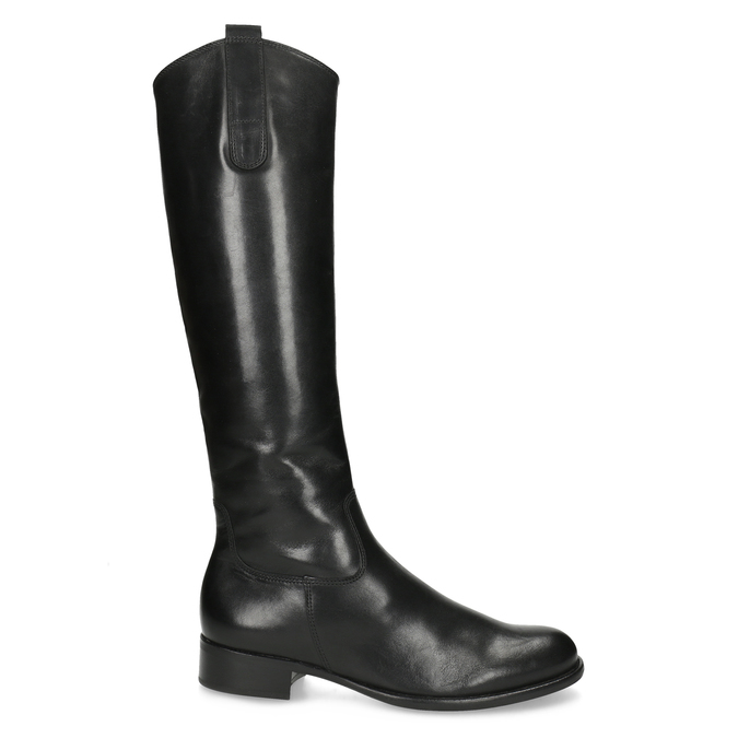 Kožené dámske čižmy na nízkom podpätku gabor, čierna, 694-6007 - 19
