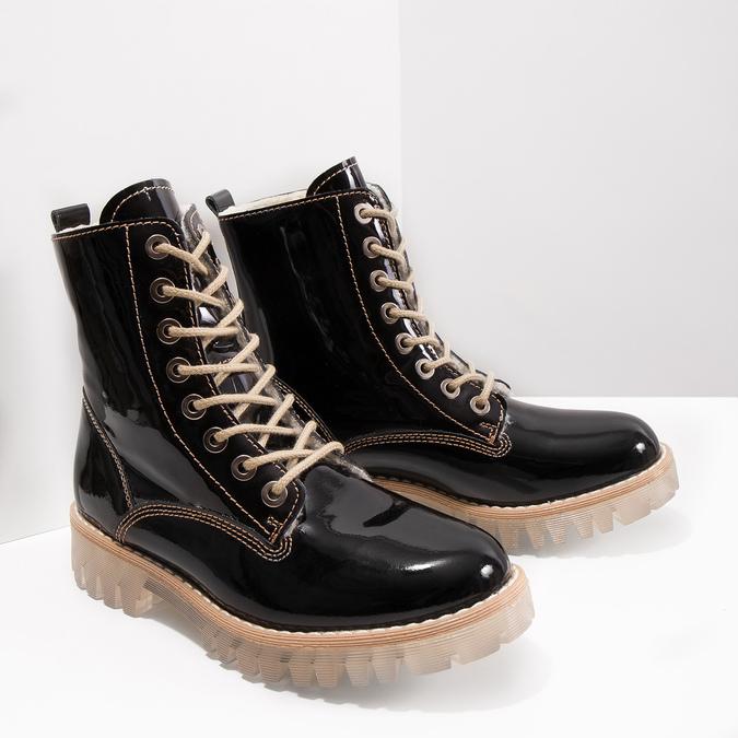 Lakovaná členková obuv s masivnou podrážkou weinbrenner, čierna, 598-6604 - 18