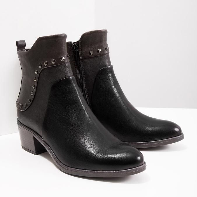 Členková kožená obuv s kovovými cvokmi bata, čierna, 696-6652 - 18