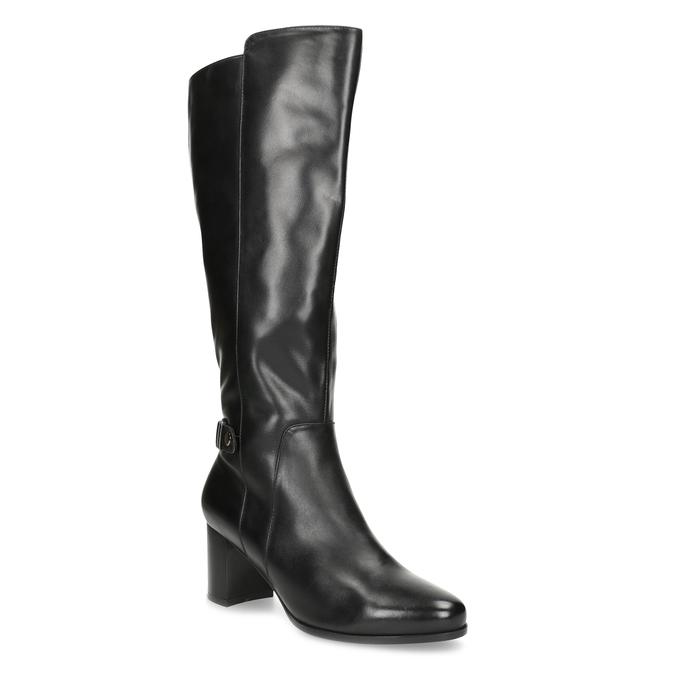 Čierne kožené čižmy s prešitím bata, čierna, 694-6639 - 13