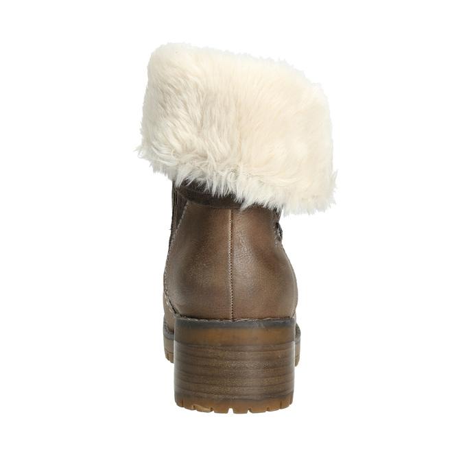 Členková obuv s kožúškom bata, hnedá, 691-2633 - 17