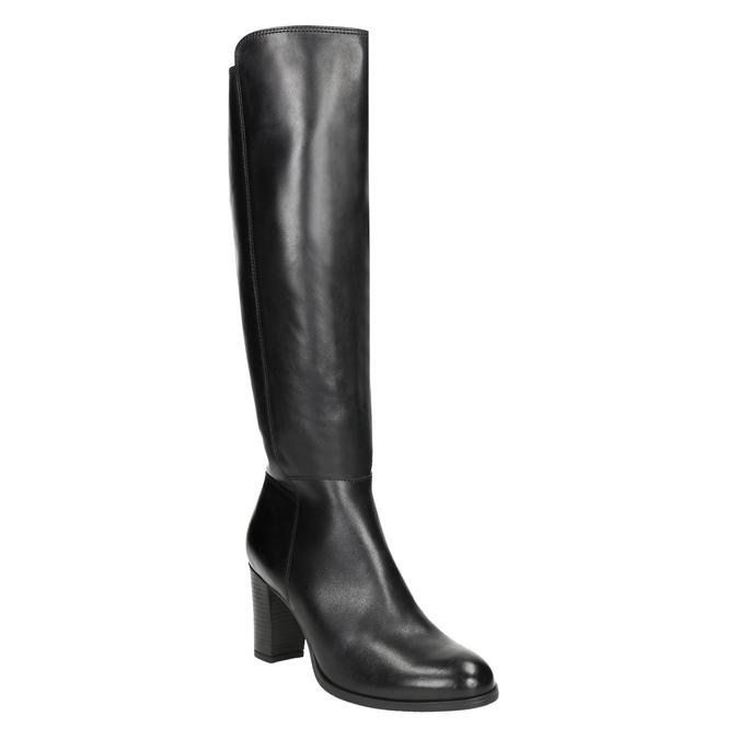 Kožené čižmy na podpätku bata, čierna, 794-6648 - 13