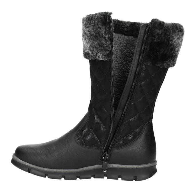 Dievčenská zimná obuv mini-b, čierna, 391-6656 - 15