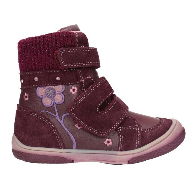 Kožená detská zimná obuv bubblegummers, červená, 124-5602 - 26