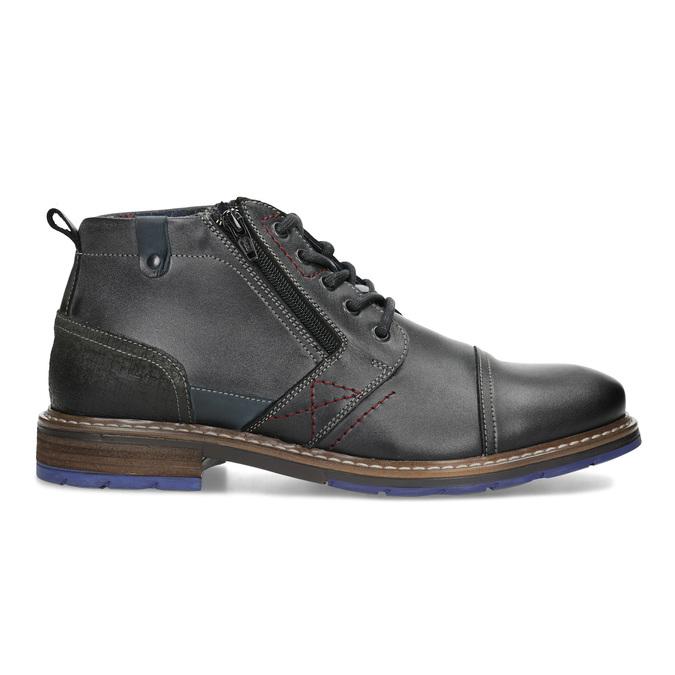Pánska kožená členková obuv so zipsom bata, šedá, 896-2678 - 19