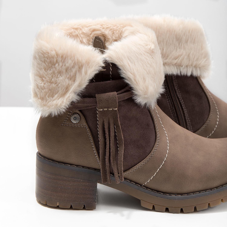 Baťa Členková obuv s kožúškom - Na podpätku  e4d161d43a1