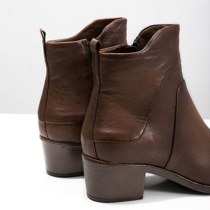 Členkové čižmy na stabilnom  podpätku bata, hnedá, 696-4654 - 14