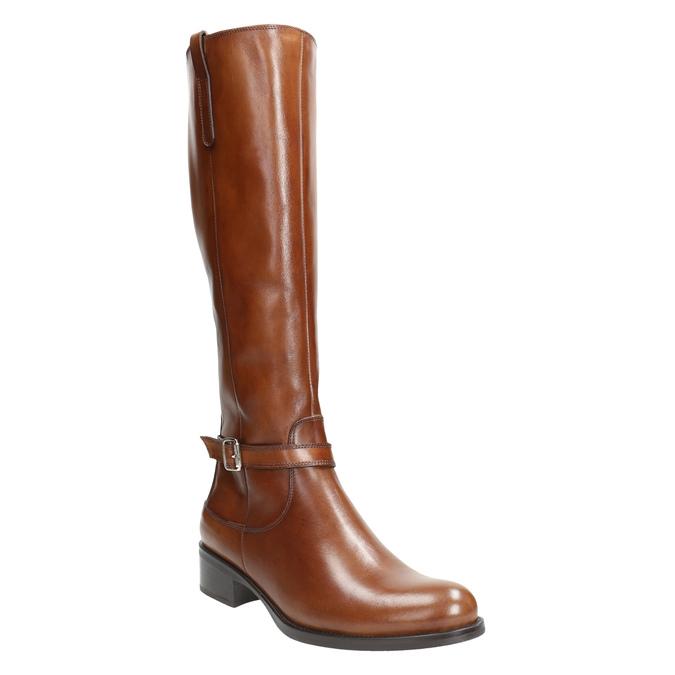 Hnedé kožené čižmy bata, hnedá, 596-4665 - 13