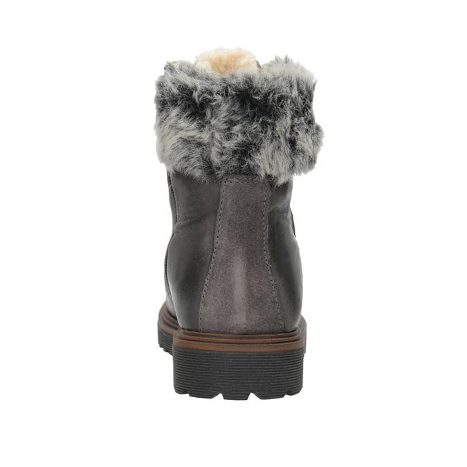 Kožená zimná obuv s kožúškom bata, šedá, 594-6650 - 15