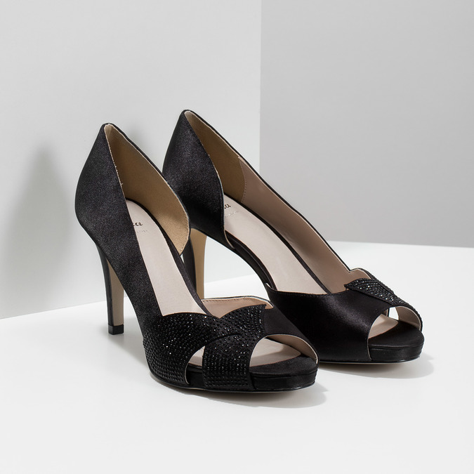 Čierne lodičky s kamienkami bata, čierna, 729-6613 - 26