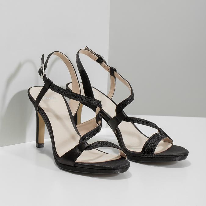 Dámske spoločenské sandále s kamienkami bata, čierna, 729-6611 - 26