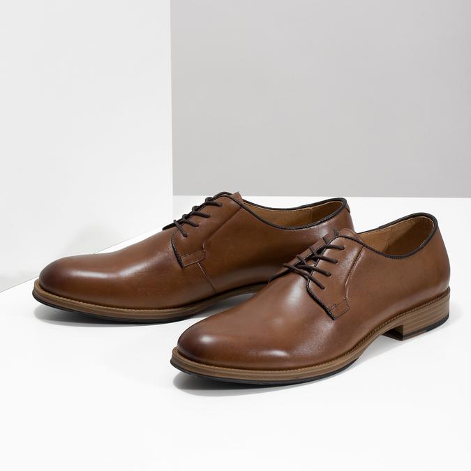 Pánske kožené poltopánky na silnějšej podrážke bata, hnedá, 826-3809 - 16