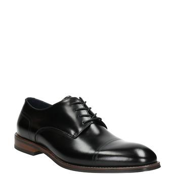 Čierne kožené Derby poltopánky bata, čierna, 826-6681 - 13