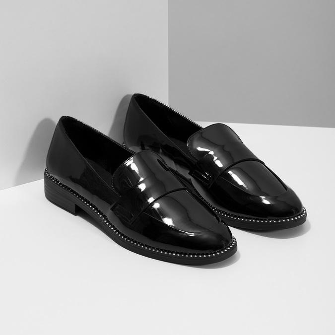 Lakované dámske mokasíny bata, čierna, 511-6607 - 26
