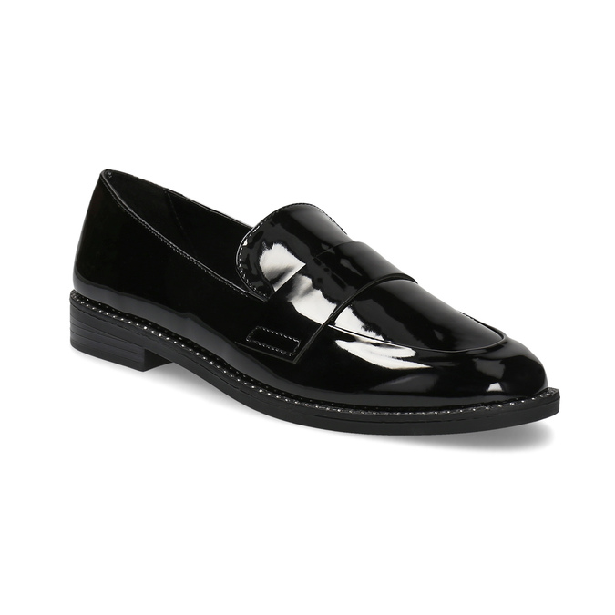 Lakované dámske mokasíny bata, čierna, 511-6607 - 13