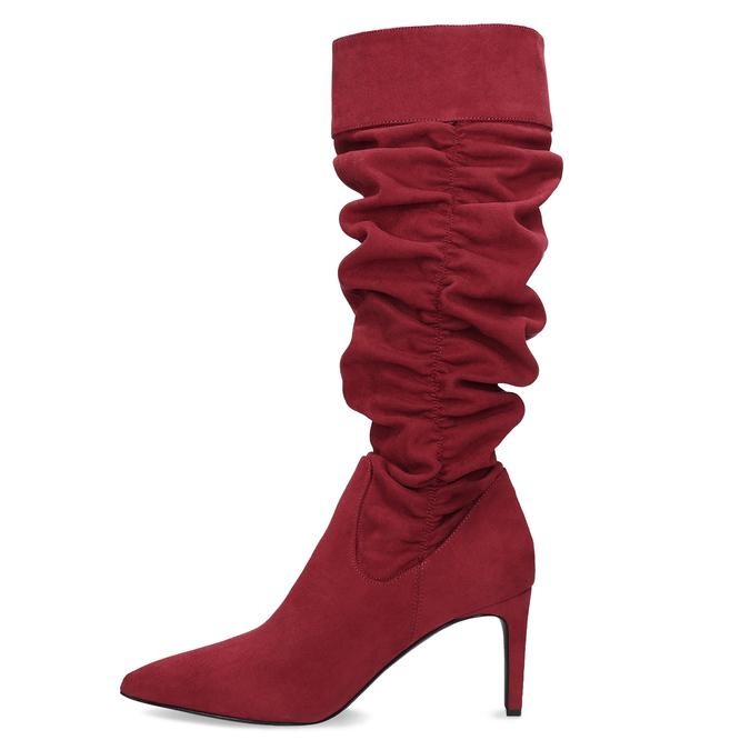 Dámske červené čižmy s riasením bata, červená, 799-5619 - 17