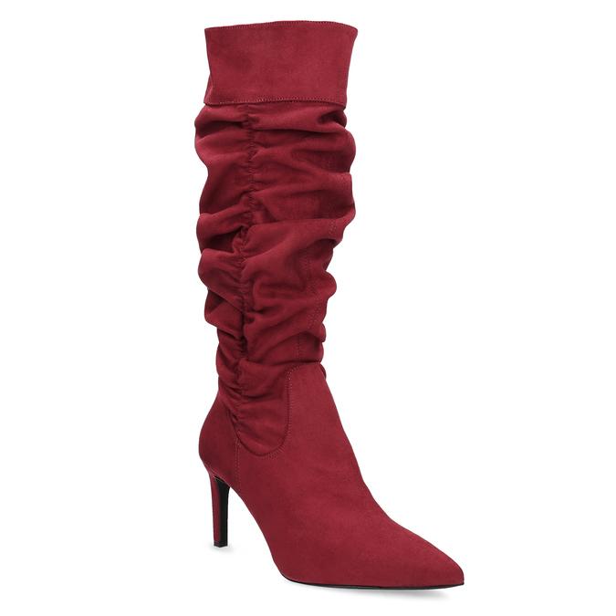 Dámske červené čižmy s riasením bata, červená, 799-5619 - 13