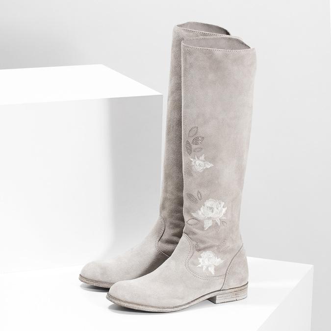 Čižmy s výšivkou a kamienkami bata, šedá, 596-2687 - 16