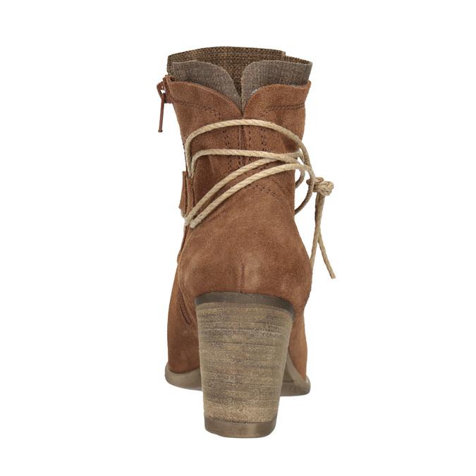 Kožené členkové čižmy s výšivkou bata, hnedá, 696-4655 - 15
