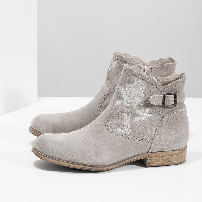 Členkové čižmy s výšivkou bata, šedá, 596-2686 - 16