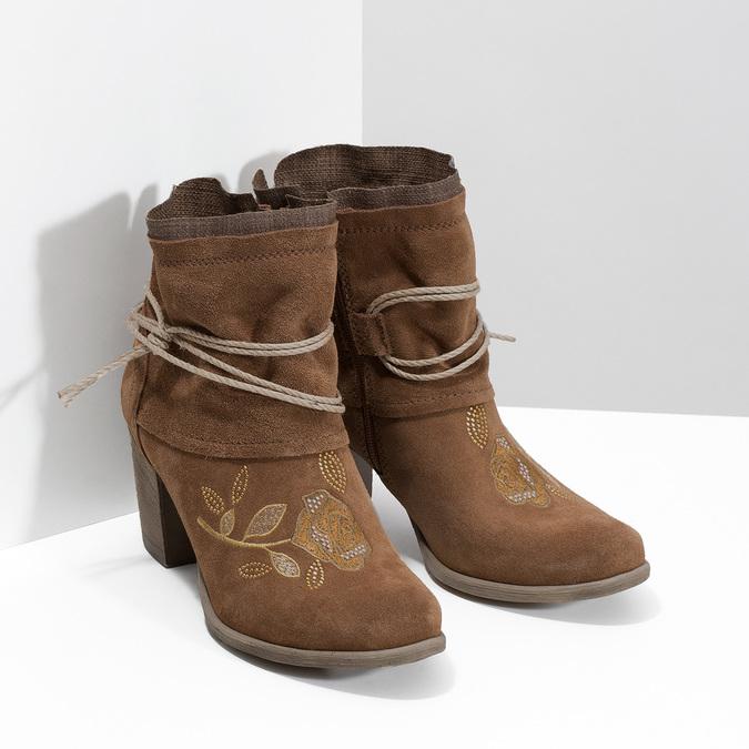 Kožené členkové čižmy s výšivkou bata, hnedá, 696-4655 - 26
