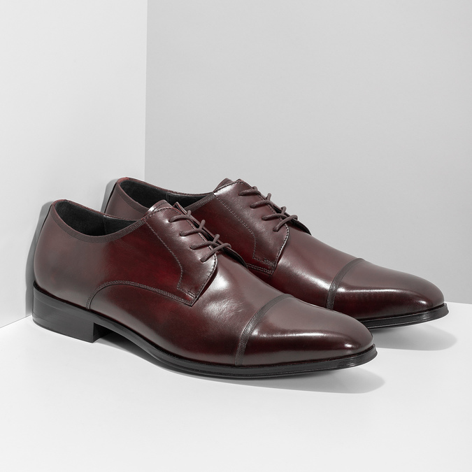 Vínové kožené poltopánky bata, červená, 826-5851 - 26