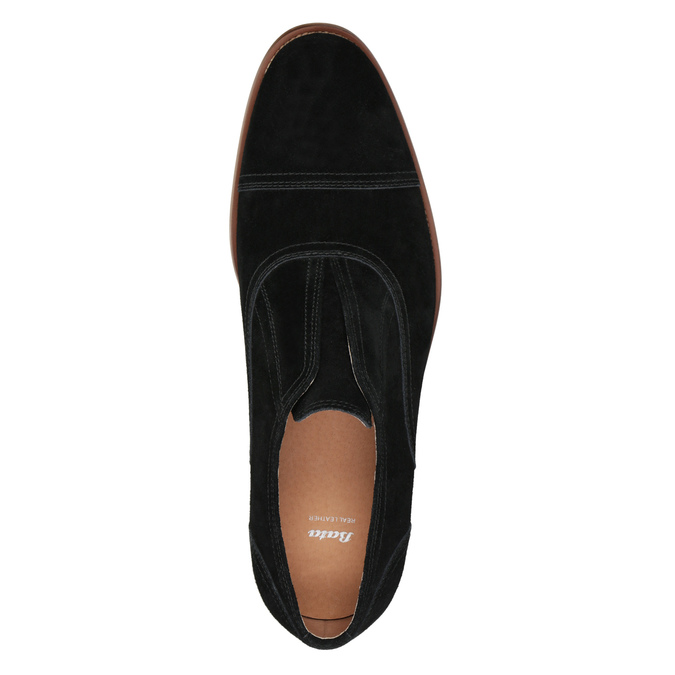 Poltopánky typu Oxford z brúsenej kože bata, čierna, 823-6618 - 15