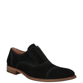 Poltopánky typu Oxford z brúsenej kože bata, čierna, 823-6618 - 13