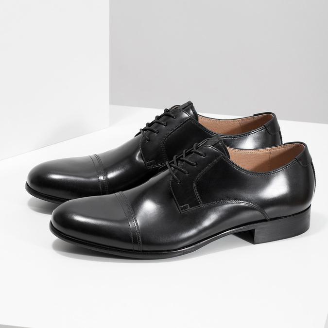 Čierne kožené Derby poltopánky bata, čierna, 824-6863 - 16