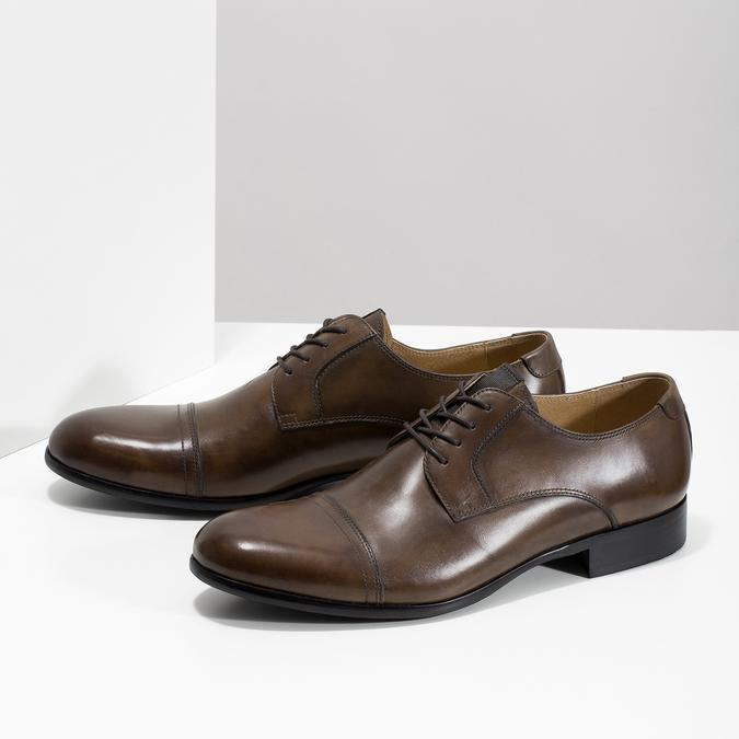 Hnedé kožené Derby poltopánky bata, hnedá, 826-3863 - 16