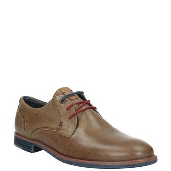 Kožené poltopánky s farebnými šnúrkami bata, hnedá, 826-4928 - 13