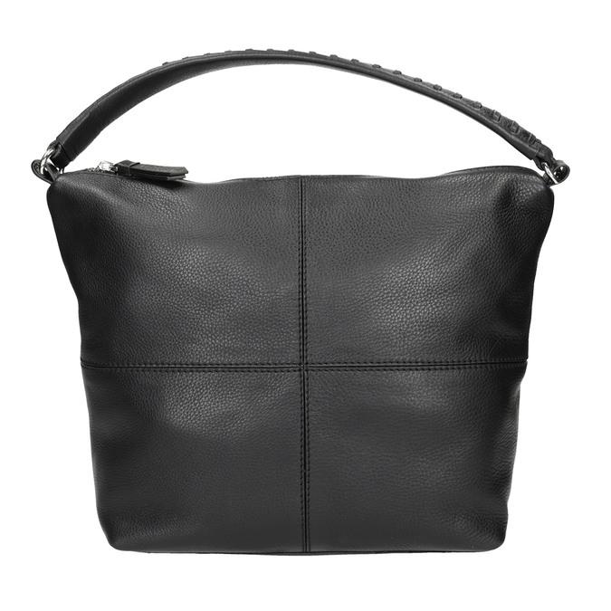 Kožená Hobo kabelka s prešitím bata, čierna, 964-6290 - 26