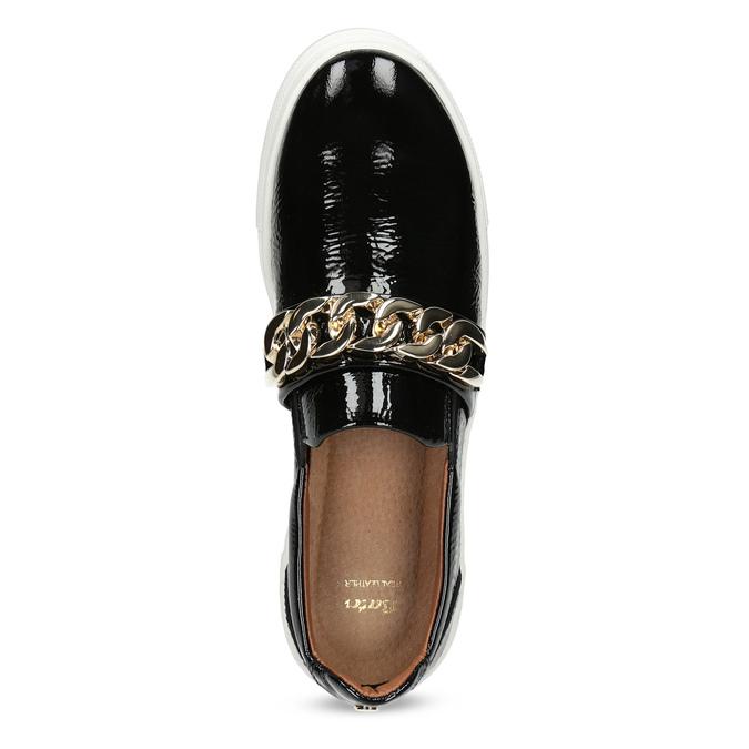 Kožená Slip-on obuv na flatforme bata, čierna, 518-6601 - 17
